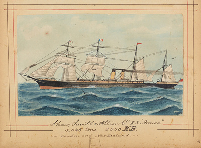 "Painting: Shaw, Savill & Albion Co.'s S.S. ""ARAWA"" 5,025 tons. 3500 HP. -  London and New Zealand; F.W. Coombes; 1994.97.9"