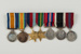 Medals: miniatures of campaign and service medals awarded to to George Davis, mounted on bar; 1999.21.19