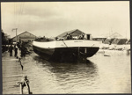 Photograph: Launch of Auckland Harbour Board barge RANGITOTO, 1922.; Auckland Harbour Board. Engineer's Dept.; 2010.132.310