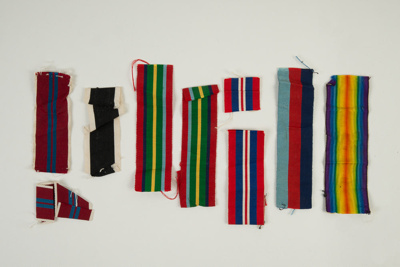 Medal ribbons for campaign and service medals awarded to to George Davis; 1999.21.20