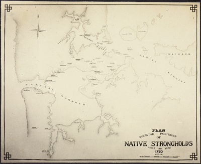 Photograph: Plan showing positions of Native Strongholds about the year 1720.; Auckland Harbour Board. Engineer's Dept.; 2010.132.3
