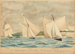 Painting: The Intercolonial Yacht Race. The Run from Manly. Jan. 22nd 1887. MAGIC, JANET & WAITANGI.; F.W. Coombes; 1994.97.19