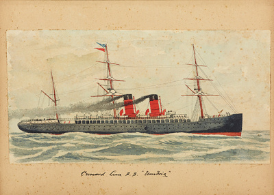 "Painting: Cunard Line S.S. ""UMBRIA""; F.W. Coombes; 1994.97.36"
