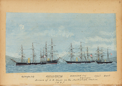 """Painting: """"Some of H.M. Ships on the Australian Station 1887""""; F.W. Coombes; 1994.97.5"""