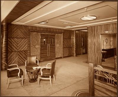 Photograph: After Entrance - Lounge Deck. Panelling Walnut; Shaw Savill & Albion Company; Stewart Bale Ltd; 1994.279.6