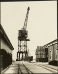 Photograph: Crane on Queens Wharf, 1916.; Auckland Harbour Board. Engineer's Dept.; 2010.132.303