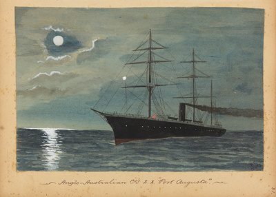 "Painting: Anglo-Australian Co's. S.S. ""PORT AUGUSTA""; F.W. Coombes; 1994.97.28"