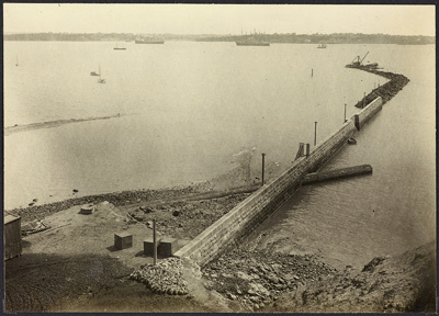Photograph: Eastern Breakwater, Auckland, 1921.; Auckland Harbour Board. Engineer's Dept.; 2010.132.350