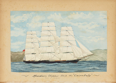 """Painting: Aberdeen Clipper Ship the """"CAIRNBULG"""" - Now a barque; F.W. Coombes; 1994.97.23"""