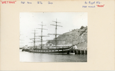 Index card: WAITANGI (1874), as rigged in 1874.; Bill Laxon