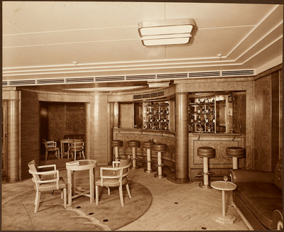 "Photograph: Foyer with Cocktail Bar on ""C"" Deck. Wall panelled in English Chestnut, Furniture in Sycamore.; Shaw Savill & Albion Company; Stewart Bale Ltd; 1994.279.3"