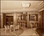 """Photograph: Foyer with Cocktail Bar on """"C"""" Deck. Wall panelled in English Chestnut, Furniture in Sycamore.; Shaw Savill & Albion Company; Stewart Bale Ltd; 1994.279.3"""