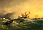 Painting: Wreck of  H.M.S. ORPHEUS  On Manukau Bar New Zealand Feb'y 1863.; Richard Beechey; L1995.59