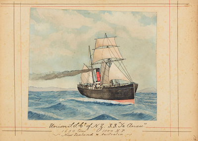 """Painting: Union S.S.Co. of N.Z. """"TE ANAU"""" 1650 tons 1500 H.P. - New Zealand and Australia; F.W. Coombes; 1994.97.12"""