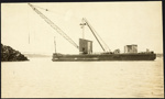 Photograph: Electric floating crane at Calliope Dock, date unknown.; Auckland Harbour Board. Engineer's Dept.; 2010.132.293
