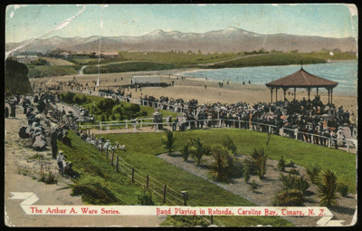 Band Playing in Rotunda, Caroline Bay, Timaru, N.Z. (Arthur A Ware Series); 1908; 0008