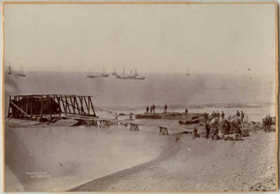 [Breakwater construction, Timaru Harbour]; Ferrier, William; 1878; 0560