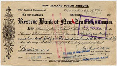 First cheque issued by the Reserve Bank of New Zealand, 1934
