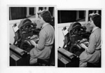 Addressograph machine being operated in 1955