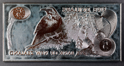 Reserve Bank of New Zealand Five Dollars Printing Plate