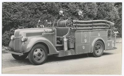 Photograph, First Otautau Fire Truck; Gutsell, Peter; 1950; OT.2018.10.1