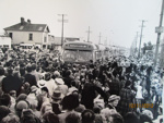 The very first buses arriving in New Brighton; Purchased from the Star-Sun Newspaper, Christchurch; 1952; 01/2006/812/k