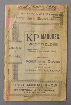 Catalogue, Waikato Central Agricultural Association, 1904, PA196