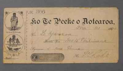 Bank Cheque, Te Peeke o Aotearoa, ARC1400