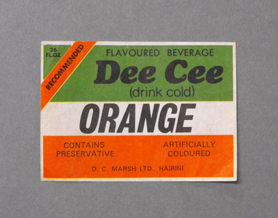 Soft drink label, D.C. Marsh Ltd    Hairini, c1970s, ARC3608