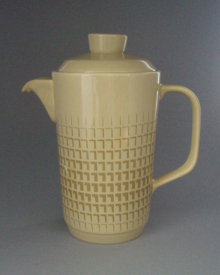Coffee pot and lid - Novelle pattern; Crown Lynn Potteries Limited; 1968-1975; 2008.1.1062.1-2