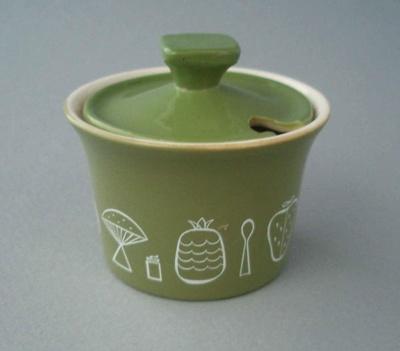 Mustard pot and lid - Narvik Green pattern; Crown Lynn Potteries Limited; 1963-1970; 2008.1.378.1-2