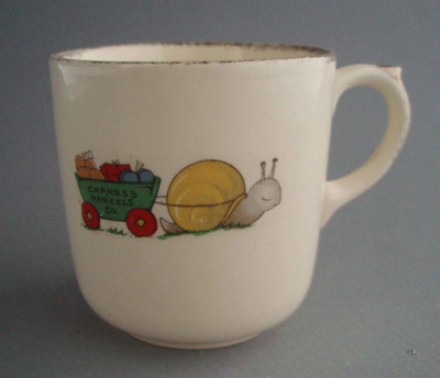 Child's cup - nursery theme; Crown Lynn Potteries Limited; 1955-1970; 2008.1.1033