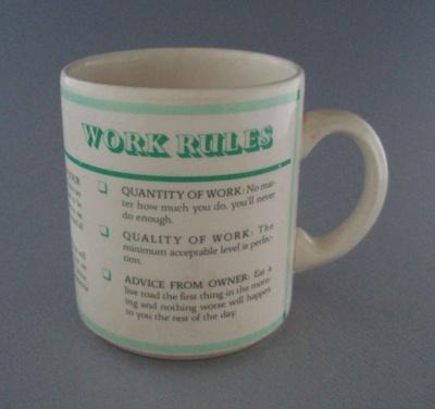 Mug - slogan; Crown Lynn Potteries Limited; 1983-1989; 2008.1.1368