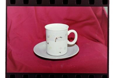 Negative - mug and saucer grey spot-stripe and flowers; 19 Apr 1988; 2008.1.3733