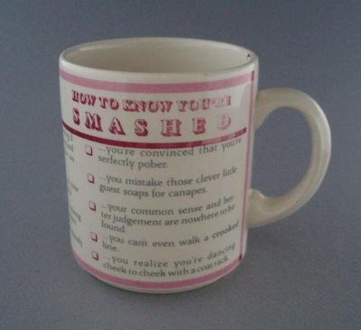 Mug - slogan; Crown Lynn Potteries Limited; 1983-1989; 2008.1.1369