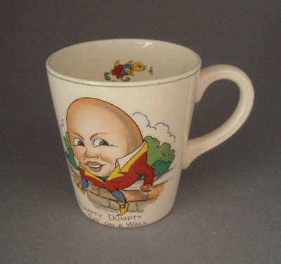 Child's cup - nursery rhyme; Crown Lynn Potteries Limited; 1960-1970; 2008.1.1303