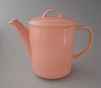 Coffee pot and lid - Venice pattern; Crown Lynn Potteries Limited; 1988-1989; 2009.1.930.1-2