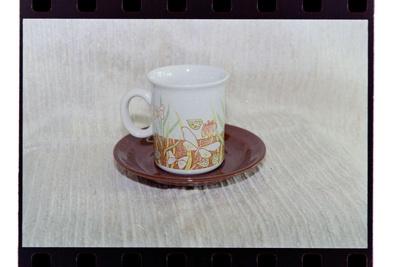 Negative - mug and saucer brown water/butterflies; 19 Apr 1988; 2008.1.3735