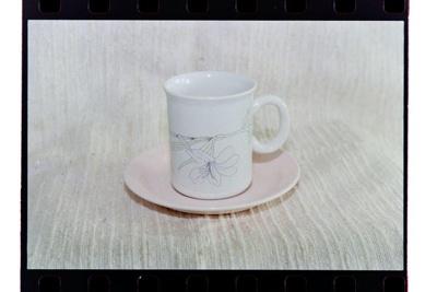 Negative - mug and saucer grey horizontal flower; 19 Apr 1988; 2008.1.3740