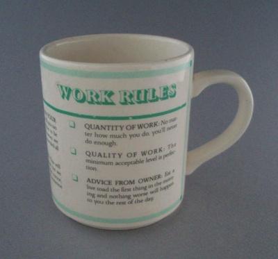 Mug - slogan; Crown Lynn Potteries Limited; 1983-1989; 2008.1.1367