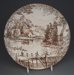 Dinner plate - country scene; Crown Lynn Potteries Limited; 1975-1989; 2008.1.1788