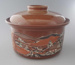 Casserole and lid - trial; Crown Lynn Potteries Limited; 1984-1988; 2009.1.1192.1-2