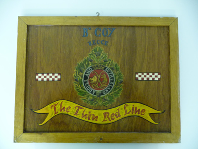 'Thin Red Line' Painted Plaque; SGHT.2009.13