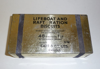 Lifeboat ration biscuits; Carr & Co. Ltd.,  Carlisle / Ministry of Transport; SGHT.1995.4.163.2