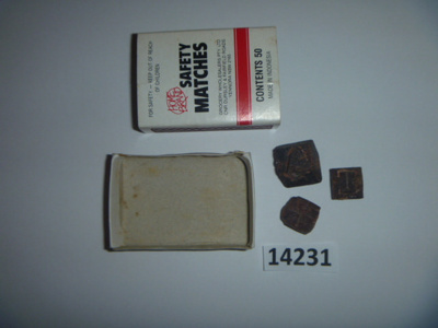 Box containing Maltese Cross Meteorite fragments (3 pieces).  ; Mining rrea around Cloncurry. ; 14231