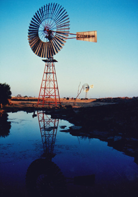 Colour photograph of Comet Windmill and Southern Cross Windmill at ASHOF, Longreach. ; 1990; 16582