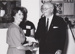 Photograph:  Dame Mary Durack Outback Art and Crafts entrant being handed award by State Governor. ; 1985?; 20300