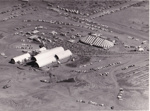 B&W aerial photograph of opening day of ASHOF Building, Longreach on 29/4/1988  ; 1988; 16587