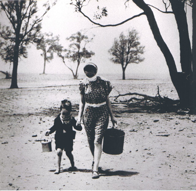 Photograph - Woman and child fetching water. ; 8619