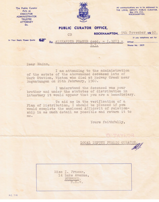 Documents relating to Alexander Fraser.; Public Curator Office, Rockhampton.; 1960 - 1962; 13274